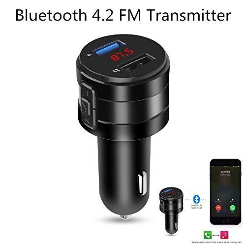 DFFFGGX Freisprecheinrichtung Bluetooth 4.2 FM Transmitter Modulator Auto-Ladegerät 3.1A Doppel-USB-Adapter der Auto-MP3-Player-drahtlose Audio-Receiver schwarz