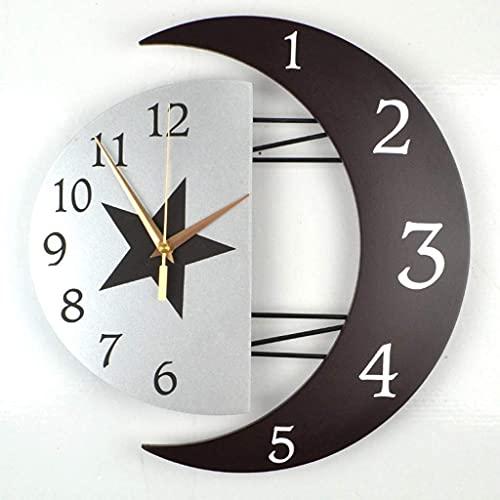 DIEFMJ Reloj de Pared silencioso Creativo Personalidad de la Moda Apariencia Simple casa Colgante Reloj de Cuarzo Mesa Sala de Estar Dormitorio (Color: A, tamaño: 16 Pulgadas)
