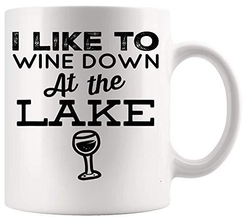 Taza Mug Taza de vino Copa de bebidas Vino en el lago Camisa Lake Bum Lake Life Wine Lover White Cups Tazas 330Ml