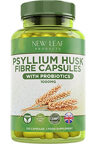 Psyllium Husk Capsules Enriched With Probiotics Fibre Supplement High Absorbency Strength Contributes Towards Gut And Digestive Health from Plantago Ovata Seeds, Ispaghula Husk, Gluten-Free Made in UK