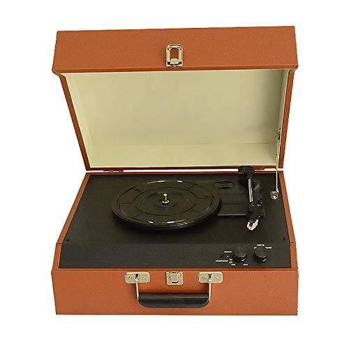 Feixunfan Tocadiscos Creativo Antiguo Bluetooth Audio Vinilo Registro Reproductor PU Retro Fonógrafo Adornos Europeos para Discos de Vinilo (Color : Photo Color, Size : 44x35x17cm)