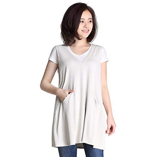EMF Shielding V-Ausschnitt Schwangere Kleidung für Frauen, Schutz vor elektromagnetischer Strahlung 100% Silberfaserkleid,XL