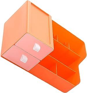 LIOOBO メイクアップオーガナイザー化粧台引き出し付き化粧品オーガナイザープラスチック卓上キャビネット収納ディスプレイ口紅ネイルアクセサリーオレンジ