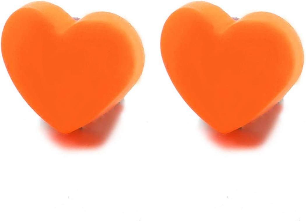 Womens Orange Acrylic Magnetic Puff Heart Stud Earring, Non-Piercing Clip On Fake Ear, Lovely