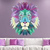Pegatinas de origami | Adhesivo adhesivo de cabeza de león – Decoración de pared origami para dormitorio y salón – 45 x 40 cm