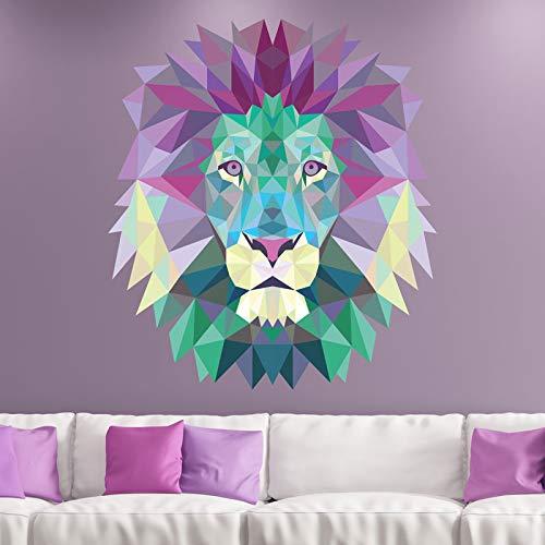 Stickers adhésifs Origami | Sticker Autocollant Tête de lion - Décoration murale Origami Chambre et Salon - 45 x 40 cm