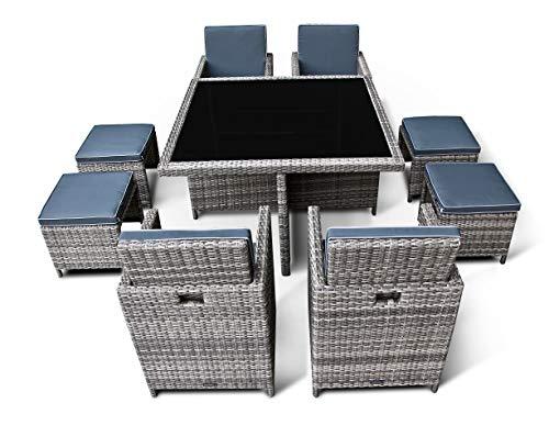Ragnarök PolyRattan - DEUTSCHE Marke - EIGENE Produktion - Gartenmöbel Essgruppe Tisch 4 Stuhl 4 Hocker 12 Polster Grau Rostfrei Aluminium Doppelhabrund