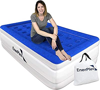 EnerPlex 1-Minute Pump Luxury Twin Air Mattress Twin Size Double High Airbed with Built in Pump, Raised Inflatable Blow Up Bed Used for Home Camping 2-Year Warranty