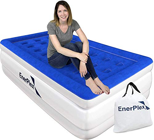 EnerPlex Never-Leak Twin Air Mattress with Built in Pump Raised Luxury Twin Airbed Double High Twin Inflatable Bed Blow Up Bed with 2-Year Warranty Manufacturer