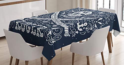 ABAKUHAUS Cranio Tovaglia, Pirati Jolly Roger Bandiera, Rettangolare per Sala da Pranzo e Cucina, 140 cm x 200 cm, Dark Blue And White