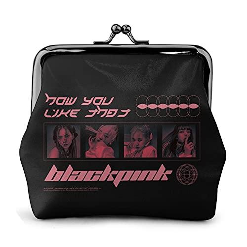 Álbumes de helado negro rosa popular Jisoo,Jennie,Rosé,Lisa Square Up Monedero de cuero Geniuine con cierre de beso Accesorios compactos y suaves para hombres, mujeres, adultos