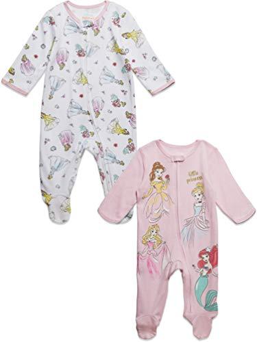 Disney Princess Baby Girls Zip-Up 2 Pack Sleep N' Play Footies Pink 24 Months