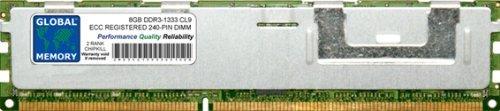 Global Memory RAM de Memoria DDR3 de 8 GB, 1333 MHz, PC3-10600, 240 Pines ECC, DIMM (RDIMM) para servidores/Estaciones de Trabajo/Placas Base (2 rangos Chipkill)