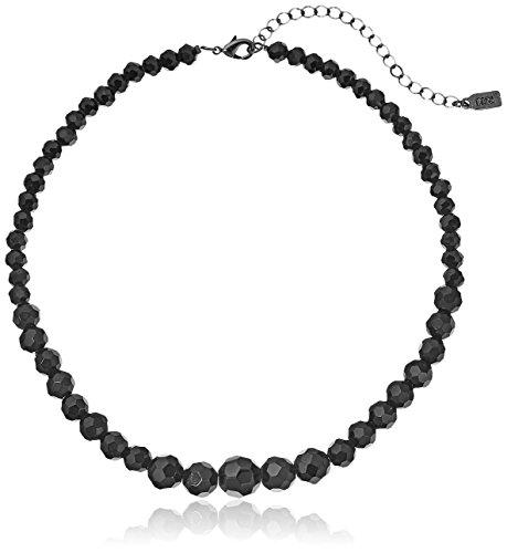 1928 Jewelry Black Beaded Adjustable Strand Necklace, 15' + 4' Extender