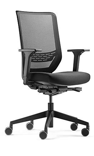 Trendoffice to-sync pro, ergonomischer Bürostuhl, mit Armlehnen, modernes Design, Homeoffice, umweltzertifiziert, by Dauphin (Black, Netz-Rückenlehne)