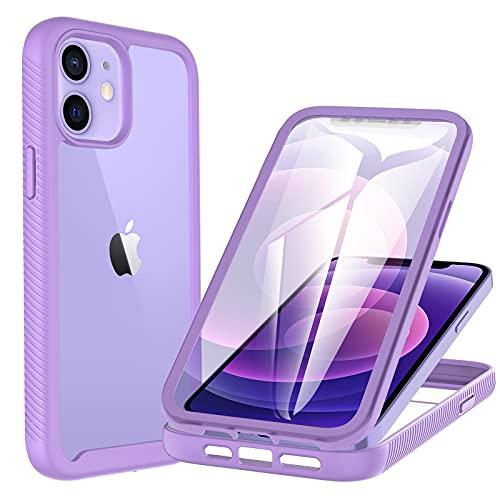 CENHUFO Funda iPhone 12, Funda iPhone 12 Pro, con Protector de Pantalla Incorporado, Antichoques 360 Grados Protección Case Anti-Amarilleo Carcasa para iPhone 12 / 12 Pro (6,1') Púrpura /Transparente