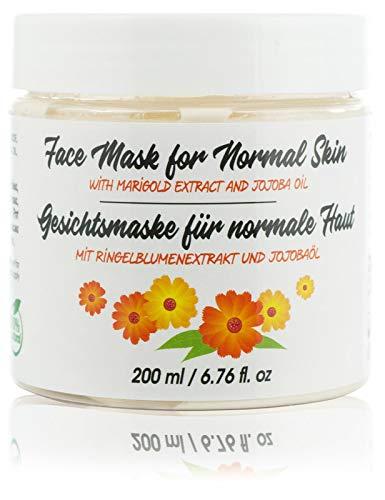 Mascarilla Facial de Arcilla Hidratante Natural con Caléndula, Caolín y Aceite de Jojoba. Mascarilla Limpiadora y Abrillantadora, 200 ml.