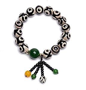 LINGS Armband Fengshui Korn-Armband Achat Schwarz Weiß Dreiäugigen Dzi Perlenarmband Mit Grünen Jaspis Quaste Armband Viel Glück Gesundheit Charms Vermögen