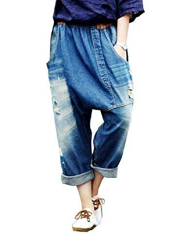 ZBSPORT Damen Jeans Hose Haremshose Pumphose Boyfriend Jeanshose