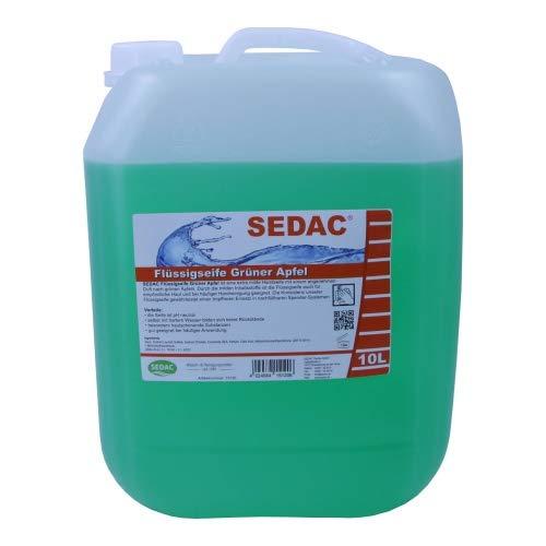 SEDAC Flüssigseife Grüner Apfel 10L Kanister | Handseife zum täglichen Händewaschen, Nachfüll-Kanister ideal für Spendersysteme