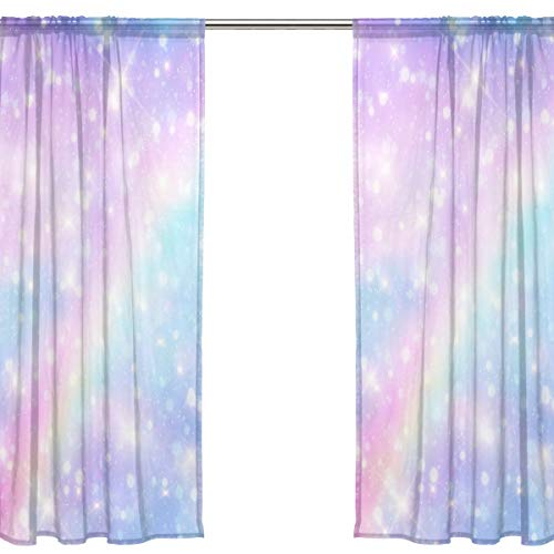 Chen Miranda Galaxy Fantasy Pastel Sky Rainbow Printed Tulle Polyester Window Sheer Curtain Panels Bedroom Living Room Office Draperies Door Window Gauze Shade Curtains 55x84 inch Two Panels Set