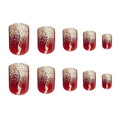 DINGGUANGHE 24 unids Moda Vino Rojo Nails Falso Fallo Nails Fallo Cubierta Completa Nails Acrílico Herramienta de Manicura DIY Prensa Prensa EN Claves