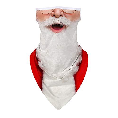 KIDVOVOU Ugly Christmas Santa Face Mask Reusable Washable Cloth Bandanas Women Men Neck Gaiter Cover Ear Loops,White Beard Santa Claus
