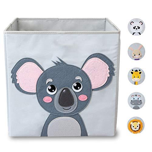 wonneklein Kinder Aufbewahrungsbox I Spielzeugkiste Kinderzimmer I Spielzeug Box (33x33x33 cm) zur Aufbewahrung I passt ins Ikea Kallax Regal I grau mit Tier Motiv als Deko (Koko Koala)