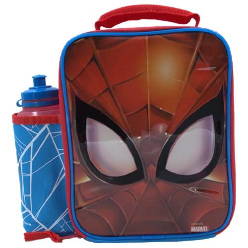 MARVEL SPIDERMAN Set Lunch Box Bag con Borraccia, Contenitore Alimenti per bambini, Borsa Termica Porta Pranzo Merenda
