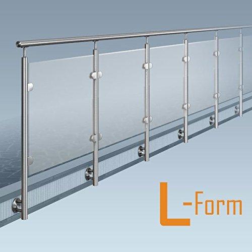 Glas-Pfosten-Geländer, L-Form (1x90° Ecke), Bausatz DIY, seitliche Montage, Länge bis 22,5 m