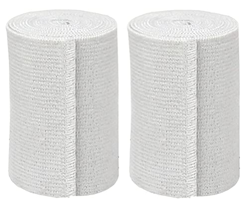 GT USA Organic Cotton Soft Woven White (3' Wide, 2 Pack) | Cotton Elastic Bandage Wrap | Latex Free | Hook & Loop Fastener at One End | Hypoallergenic Compression Roll for Sprains & Injuries