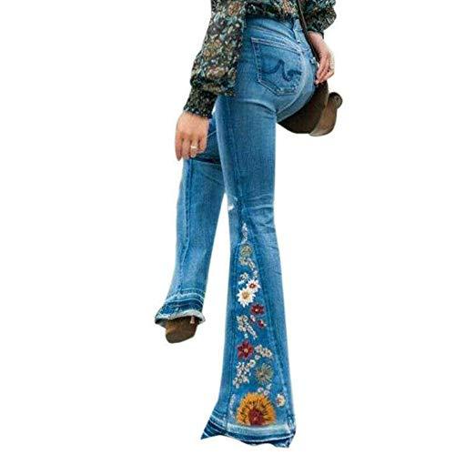 Vertvie Damen Jeans Bootcut Jeanshose Mit Hohem Bund Casual Lange Mode Hose Weite Schlaghosen Retro Stil Denim Hose (EU 36, Z-Hellblau)
