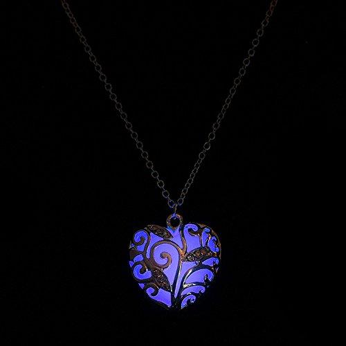 Yowablo Anhänger Halskette Geschenk Magical Aqua Blue Heart Glow In The Dark (Lila)