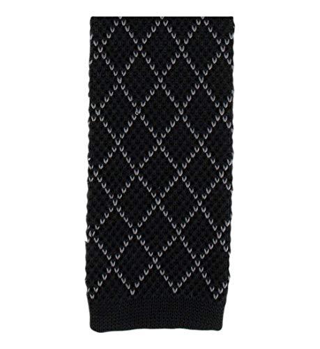 Michelsons of London Noir/Gris Diamant soie tricoté Skinny cravate de