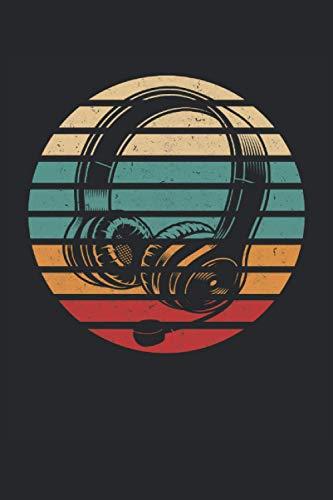 Jugador de auriculares retro vintage: Auriculares para juegos, fanáticos de los videojuegos, regalos para jugadores, cuaderno forrado (formato A5, 15,24 x 22,86 cm, 120 páginas)
