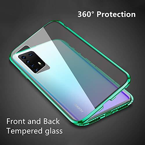 Kompatibel mit Huawei P40 Pro Hülle, Schutzhülle Magnetische Adsorption Metallrahmen und Panzerglas Handyhülle Ultra Slim Dünn Durchsichtig Transparent 360 Grad Full Body Protection - Nachtgrün - 3