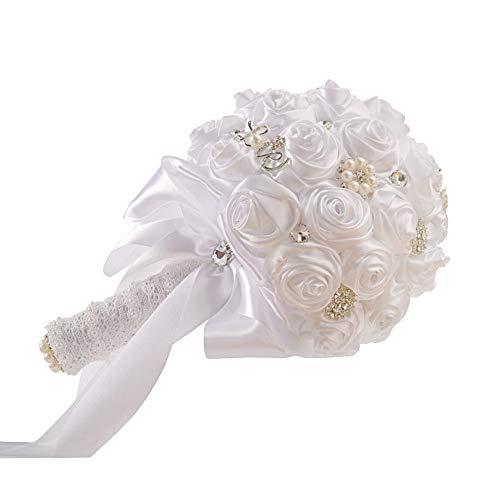 DANJIA Ramo de flores para novias simuladas para niñas con flores y perlas, material de la cinta Europa Estados Unidos 30 x 20 cm (color: blanco)