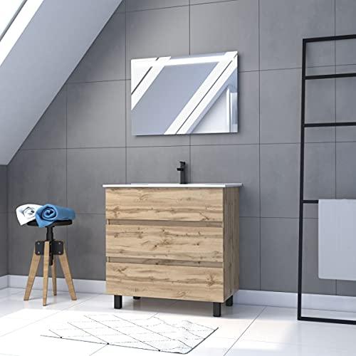 Meuble salle de bain 80x60 - Finition chene naturel - vasque + miroir Led - TIMBER 80 - Pack46