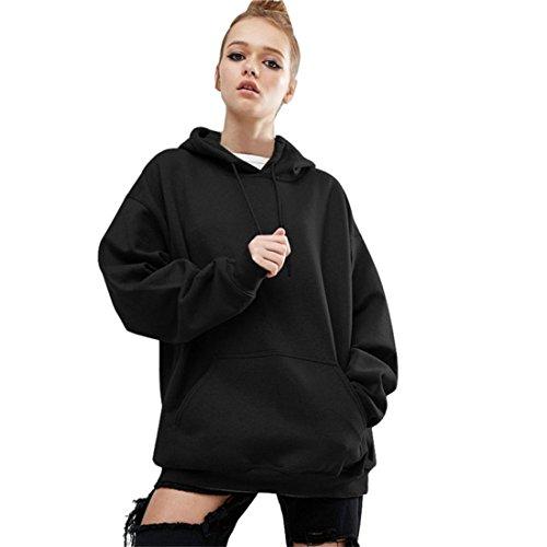 Pullover Damen Btruely Herbst Winter Hoodies Sweatsuit Beiläufig Frauen Outwear (M, Schwarz)