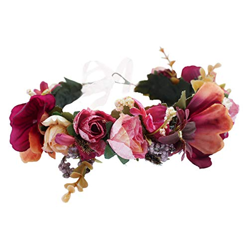 Flower Halo Floral Crown Wreath Flower Garland Headband Hair Wreath Hair Garland Floral Headpiece Boho with Ribbon Wedding Party Festival Red, One Size