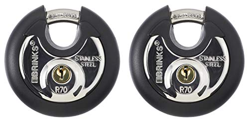 Brinks 673-70201 70mm Commercial Discus Lock with Stainless Steel Shackle, 2-Pack