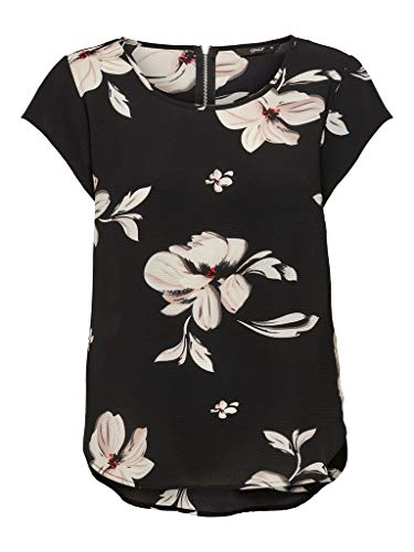 ONLY Damen Onlvic Ss AOP Noos WVN Top, Black - Florence Flower, 42
