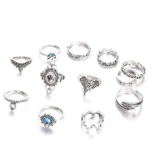 Myhouse 12 Pcs Bohemian Index Finger Ring Gemstone Vintage Engraved Geometric Totem Ring for Women Girls