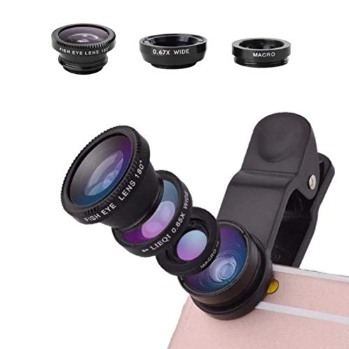 Phone Lens 3 in 1,Phone Camera Lens Including 10X Macro Lens + 0.65X Wide Angle Lens- Universal Kit of Phone Lenses with 180 Degree Fisheye for Cell Phone-Phone Fish Eye Lens