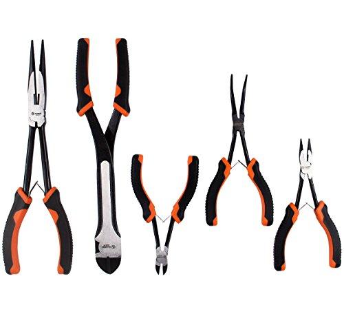 Ruwoo Z050055-teiliges Zangenset, enthält Spitzzange, Mini-Spitzzange, gebogene Mini-Spitzzange, Mini-Seitenschneider und Seitenschneider, lange Griffe für hohe Reichweite