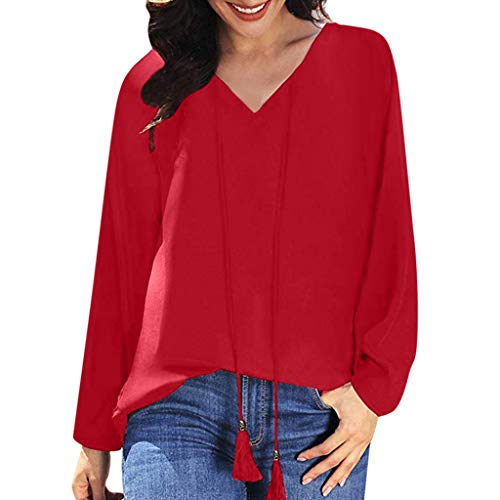 Lowest Price! Lovor Women's Sale Tassels V Neck Long Sleeve Shirts Boho Solid Casual Drawstring Tops...