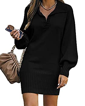 BTFBM Women Casual V Neck Knit Mini Sweater Dresses Long Sleeve Loose Fit Solid Color Ribbed Hem Pullover Jumper Sweaters Solid Black Large