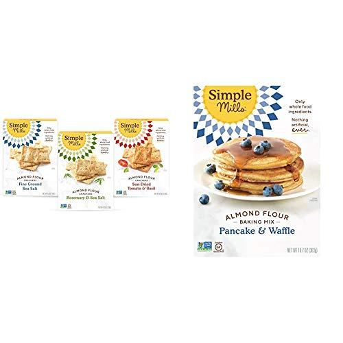 Simple Mills, Snacks Variety Pack, Fine Ground Sea Salt, Rosemary & Sea Salt, Farmhouse Cheddar Variety Pack, 3 Count & Almond Flour Pancake Mix & Waffle Mix, Gluten Free