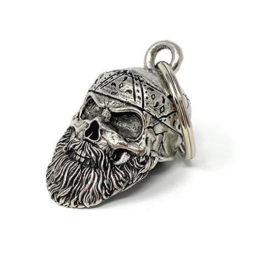 Old School Biker Skull Bell Motorcycle Biker Bell Accessory or Key Chain for Luck