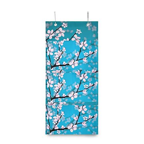 LZXO Aufbewahrungstasche zum Aufhängen an der Wand, japanische Kirschblüten-Frühling, wasserdicht, über Tür, Schrank-Organizer mit 3 Fächern für Zuhause, Küche, Schlafzimmer, Badezimmer, Büro.